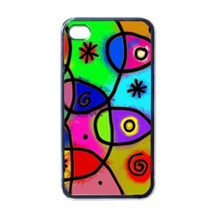 Digitally Painted Colourful Abstract Whimsical Shape Pattern Apple Iphone 4 Case (black)