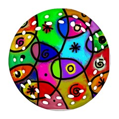 Digitally Painted Colourful Abstract Whimsical Shape Pattern Ornament (round Filigree)