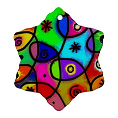 Digitally Painted Colourful Abstract Whimsical Shape Pattern Snowflake Ornament (Two Sides)