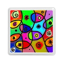 Digitally Painted Colourful Abstract Whimsical Shape Pattern Memory Card Reader (Square)