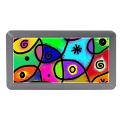 Digitally Painted Colourful Abstract Whimsical Shape Pattern Memory Card Reader (mini)