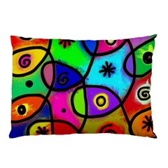 Digitally Painted Colourful Abstract Whimsical Shape Pattern Pillow Case (two Sides)