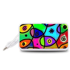 Digitally Painted Colourful Abstract Whimsical Shape Pattern Portable Speaker (White)