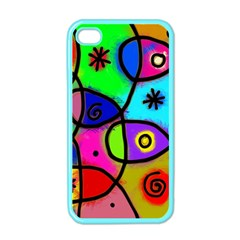 Digitally Painted Colourful Abstract Whimsical Shape Pattern Apple iPhone 4 Case (Color)
