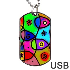 Digitally Painted Colourful Abstract Whimsical Shape Pattern Dog Tag USB Flash (One Side)