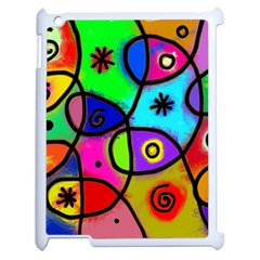 Digitally Painted Colourful Abstract Whimsical Shape Pattern Apple Ipad 2 Case (white)