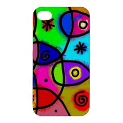 Digitally Painted Colourful Abstract Whimsical Shape Pattern Apple iPhone 4/4S Hardshell Case