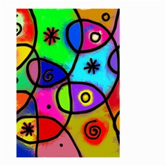 Digitally Painted Colourful Abstract Whimsical Shape Pattern Small Garden Flag (Two Sides)