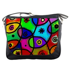 Digitally Painted Colourful Abstract Whimsical Shape Pattern Messenger Bags