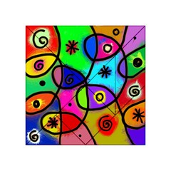 Digitally Painted Colourful Abstract Whimsical Shape Pattern Acrylic Tangram Puzzle (4  X 4 )