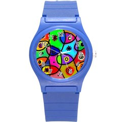 Digitally Painted Colourful Abstract Whimsical Shape Pattern Round Plastic Sport Watch (s)