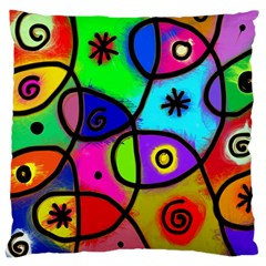 Digitally Painted Colourful Abstract Whimsical Shape Pattern Large Cushion Case (One Side)