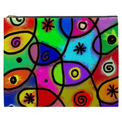 Digitally Painted Colourful Abstract Whimsical Shape Pattern Cosmetic Bag (XXXL)