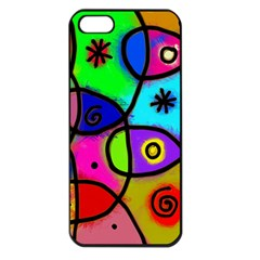 Digitally Painted Colourful Abstract Whimsical Shape Pattern Apple Iphone 5 Seamless Case (black)