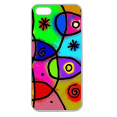 Digitally Painted Colourful Abstract Whimsical Shape Pattern Apple Seamless iPhone 5 Case (Clear)