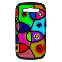 Digitally Painted Colourful Abstract Whimsical Shape Pattern Samsung Galaxy S Iii Hardshell Case (pc+silicone)