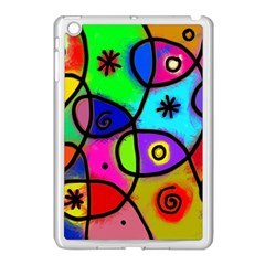 Digitally Painted Colourful Abstract Whimsical Shape Pattern Apple iPad Mini Case (White)