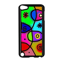 Digitally Painted Colourful Abstract Whimsical Shape Pattern Apple iPod Touch 5 Case (Black)