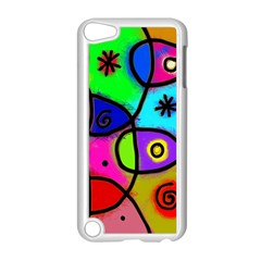 Digitally Painted Colourful Abstract Whimsical Shape Pattern Apple Ipod Touch 5 Case (white)