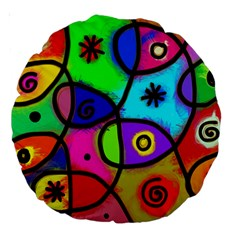 Digitally Painted Colourful Abstract Whimsical Shape Pattern Large 18  Premium Round Cushions