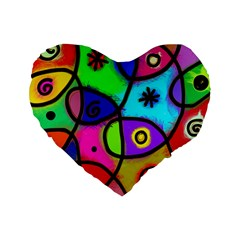 Digitally Painted Colourful Abstract Whimsical Shape Pattern Standard 16  Premium Heart Shape Cushions