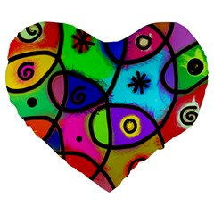 Digitally Painted Colourful Abstract Whimsical Shape Pattern Large 19  Premium Heart Shape Cushions