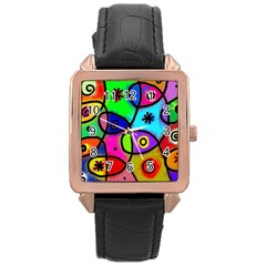 Digitally Painted Colourful Abstract Whimsical Shape Pattern Rose Gold Leather Watch