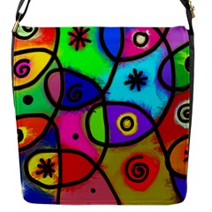 Digitally Painted Colourful Abstract Whimsical Shape Pattern Flap Messenger Bag (S)
