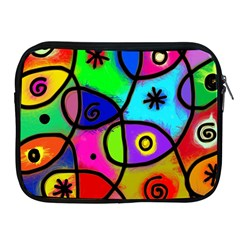 Digitally Painted Colourful Abstract Whimsical Shape Pattern Apple Ipad 2/3/4 Zipper Cases