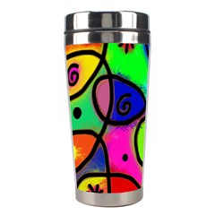 Digitally Painted Colourful Abstract Whimsical Shape Pattern Stainless Steel Travel Tumblers