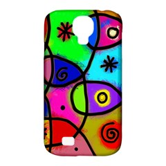 Digitally Painted Colourful Abstract Whimsical Shape Pattern Samsung Galaxy S4 Classic Hardshell Case (PC+Silicone)