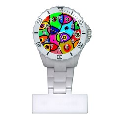 Digitally Painted Colourful Abstract Whimsical Shape Pattern Plastic Nurses Watch
