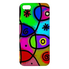 Digitally Painted Colourful Abstract Whimsical Shape Pattern iPhone 5S/ SE Premium Hardshell Case