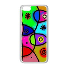 Digitally Painted Colourful Abstract Whimsical Shape Pattern Apple iPhone 5C Seamless Case (White)