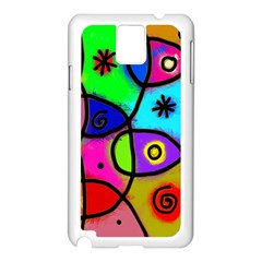 Digitally Painted Colourful Abstract Whimsical Shape Pattern Samsung Galaxy Note 3 N9005 Case (White)
