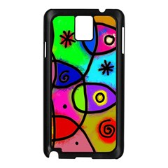 Digitally Painted Colourful Abstract Whimsical Shape Pattern Samsung Galaxy Note 3 N9005 Case (Black)