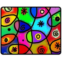 Digitally Painted Colourful Abstract Whimsical Shape Pattern Double Sided Fleece Blanket (medium)