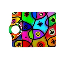 Digitally Painted Colourful Abstract Whimsical Shape Pattern Kindle Fire Hd (2013) Flip 360 Case