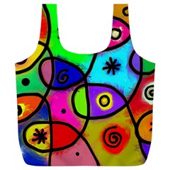 Digitally Painted Colourful Abstract Whimsical Shape Pattern Full Print Recycle Bags (L)