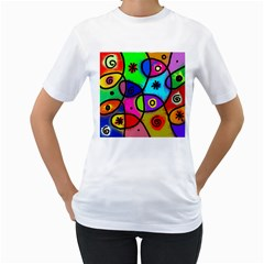 Digitally Painted Colourful Abstract Whimsical Shape Pattern Women s T Shirt (white)