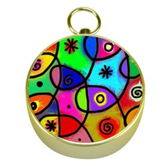 Digitally Painted Colourful Abstract Whimsical Shape Pattern Gold Compasses
