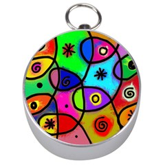 Digitally Painted Colourful Abstract Whimsical Shape Pattern Silver Compasses