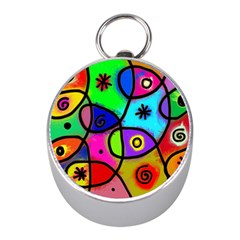 Digitally Painted Colourful Abstract Whimsical Shape Pattern Mini Silver Compasses