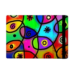 Digitally Painted Colourful Abstract Whimsical Shape Pattern Ipad Mini 2 Flip Cases