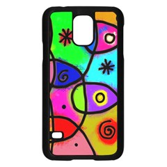 Digitally Painted Colourful Abstract Whimsical Shape Pattern Samsung Galaxy S5 Case (black)