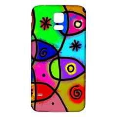 Digitally Painted Colourful Abstract Whimsical Shape Pattern Samsung Galaxy S5 Back Case (white)