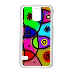 Digitally Painted Colourful Abstract Whimsical Shape Pattern Samsung Galaxy S5 Case (white)