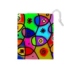 Digitally Painted Colourful Abstract Whimsical Shape Pattern Drawstring Pouches (Medium)