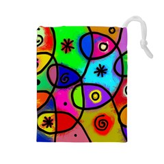 Digitally Painted Colourful Abstract Whimsical Shape Pattern Drawstring Pouches (large)