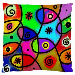 Digitally Painted Colourful Abstract Whimsical Shape Pattern Large Flano Cushion Case (Two Sides)